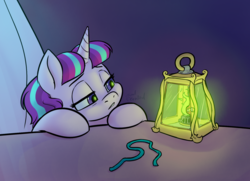Size: 1558x1129 | Tagged: alternate universe, artist:soulcentinel, fanfic:twin fates, female, homesick, hooves, lantern, night, pony, ribbon, safe, solo, starlight glimmer, tired, unicorn