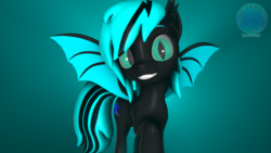 Size: 3840x2160 | Tagged: 3d, artist:archiesfm, bat pony, cute, ear fluff, fangs, happy, oc, oc:sapphire light, safe, slit eyes, smiling, volumetric light, watermark
