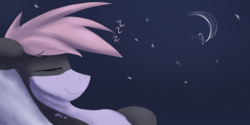 Size: 1600x800 | Tagged: artist:observerdoz, crescent moon, eyes closed, female, fishing rod, moon, oc, oc only, oc:shany, onomatopoeia, original species, safe, shark, shark pony, sitting, sleeping, solo, sound effects, tangible heavenly object, transparent moon, zzz