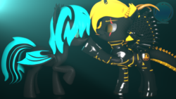 Size: 3840x2160 | Tagged: 3d, alicorn, alicorn oc, artist:archiesfm, bat pony, bat pony oc, boop, cute, dracony, dracony alicorn, duo, eye scar, hybrid, oc, oc only, oc:phoenix stardash, oc:sapphire light, raised hoof, safe, scar, silly, slit eyes, source filmmaker, spikes, tongue out, volumetric light, watermark