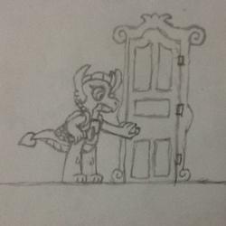 Size: 720x720   Tagged: safe, artist:tarkan809, smolder, dragon, broken, door, dragoness, drawing, error, failure, female, luigi's mansion, monochrome, paint.net, parody, pencil drawing, poltergust 5000, scared, traditional art