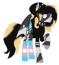 Size: 2712x2984 | Tagged: artist:teepew, artist:tortured-smile0w0, bandage, base used, bat pony, bat pony oc, beanie, blaze (coat marking), choker, clothes, commission, ear piercing, earring, hat, jewelry, lip piercing, male, nose piercing, nose ring, oc, oc:envoifal, oc only, piercing, pony, pride, raised hoof, safe, shirt, simple background, socks, solo, spiked choker, stallion, striped socks, trans boy, transgender, transparent background, t-shirt, unshorn fetlocks