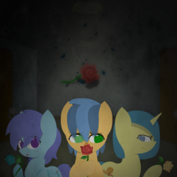 Size: 1500x1500 | Tagged: artist:darksoma, asylum, asylum: of the flower, blue rose, earth pony, flower, lineless, oc, oc:cookie dough, oc:moongem, oc:moonlit shadow, oc only, pegasus, pony, red rose, rose, safe, simplistic art style, unicorn, yellow rose