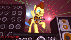 Size: 1920x1080 | Tagged: 3d, artist:sky chaser, beard, facial hair, guitar, male, musical instrument, oc, oc only, oc:sky chaser, pegasus, pony, safe, solo, source filmmaker, speakers, stallion