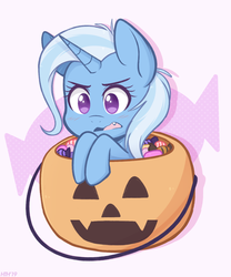 Size: 1000x1200 | Tagged: safe, artist:higgly-chan, trixie, pony, unicorn, blushing, candy, cute, cute little fangs, diatrixes, fangs, female, food, halloween, holiday, mare, no pupils, pumpkin, pumpkin bucket, signature, solo