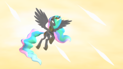 Size: 1920x1080 | Tagged: 3d, alicorn, angry, artist:d0ntst0pme, female, flying, glowing eyes, glowing horn, glowing mane, glowing tail, gmod, hoof shoes, horn, magic missile, mare, not sfm, princess celestia, safe, solo
