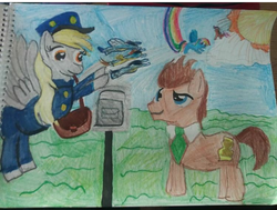Size: 720x544 | Tagged: safe, artist:king westonian, derpy hooves, doctor whooves, fleetfoot, rainbow dash, scootaloo, soarin', spitfire, time turner, earth pony, pegasus, pony, clothes, cloud, hat, mail, mailbag, mailbox, mailmare, mailpony, necktie, rainbow, sky, sun, traditional art, uniform, wonderbolts, wonderbolts uniform