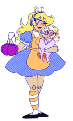 Size: 1160x1920 | Tagged: safe, artist:cubbybatdoodles, derpy hooves, dinky hooves, ditzy doo, pony, clothes, costume, cute, derpabetes, dinkabetes, equestria's best daughter, equestria's best mother, halloween, halloween costume, holiday, nightmare night, nightmare night costume
