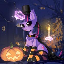 Size: 2500x2500 | Tagged: safe, artist:detectiveneko, twilight sparkle, pony, candle, cape, chest fluff, clothes, cute, ear fluff, fangs, female, glowing horn, halloween, hat, holiday, horn, jack-o-lantern, leaves, magic, mare, pumpkin, socks, solo, striped socks, telekinesis, tree, twiabetes