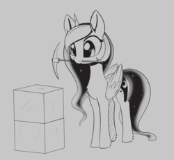 Size: 1907x1757 | Tagged: alicorn, artist:dusthiel, block, ethereal mane, female, grayscale, inktober, inktober 2019, mare, minecraft, minkreft, monochrome, mouth hold, pickaxe, pony, princess luna, safe, solo, starry mane