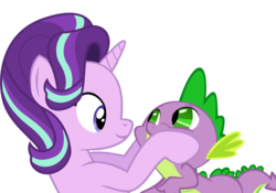 Size: 1000x700 | Tagged: artist:rozyfly10, cute, dragon, female, glimmerbetes, male, mare, pony, safe, shipping, simple background, sparlight, spikabetes, spike, spikelove, squishy cheeks, starlight glimmer, straight, transparent background, unicorn, vector