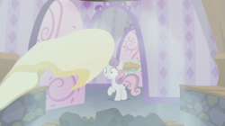 Size: 1275x714 | Tagged: safe, screencap, sweetie belle, pony, the big mac question, offscreen character, ponyville spa, sauna, spa