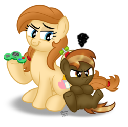 Size: 899x889 | Tagged: safe, artist:aleximusprime, button mash, oc, oc:cream heart, earth pony, pony, button's adventures, angry, buttonbetes, cute, duo, duo male and female, female, hat, jananimations, joyboy, madorable, male, mom, mother, mother and son, ococtober, propeller hat, son, video game