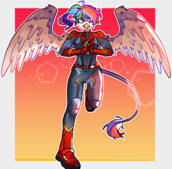 Size: 1280x1260 | Tagged: anthro, artist:milky-rabbit, captain marvel, captain marvel (marvel), clothes, cosplay, costume, griffon, griffon oc, interspecies offspring, magical lesbian spawn, oc, oc:rainbow feather, offspring, parent:gilda, parent:rainbow dash, parents:gildash, plantigrade anthro, rainbow hair, safe, solo, superhero