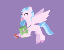 Size: 2364x1852 | Tagged: safe, artist:gd_inuk, silverstream, classical hippogriff, hippogriff, chips, claw hold, crumbs, doritos, eating, eyes closed, female, flying, food, jewelry, lineless, logo parody, mountain dew, necklace, purple background, simple background, solo