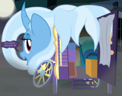 Size: 2743x2169 | Tagged: artist:badumsquish, canterlot, cart, curtains, curved horn, dark, derpibooru exclusive, dialogue, face down ass up, female, fog, full moon, grin, heart, horn, looking at you, looking back, looking back at you, mare, monster pony, moon, night, object pony, oboroguruma, open door, open mouth, original species, ponified, pony, prehensile mane, presenting, safe, sharp teeth, show accurate, smiling, smug, species swap, spooky, street, talking to viewer, teeth, trixie, trixie's wagon, window, youkai