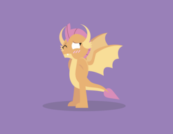 Size: 2085x1619 | Tagged: safe, artist:gd_inuk, smolder, dragon, blank eyes, blushing, dragoness, empty eyes, fangs, female, hands behind back, horns, lineless, nervous, no pupils, one eye closed, purple background, simple background, solo, spread wings, standing, wings