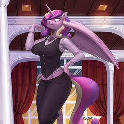 Size: 900x900 | Tagged: safe, artist:kevinsano, princess cadance, alicorn, anthro, unguligrade anthro, alicorn amulet, big breasts, breasts, busty princess cadance, clothes, curtains, female, hand on hip, milf, patreon, patreon logo, smiling, solo, window