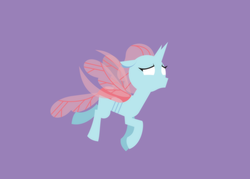 Size: 1785x1277 | Tagged: safe, artist:gd_inuk, ocellus, changedling, changeling, blank eyes, empty eyes, female, flying, lineless, minimalist, modern art, no mouth, no pupils, purple background, simple background, solo, worried