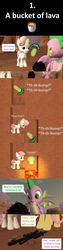 Size: 1920x7560 | Tagged: safe, artist:red4567, fluttershy, spike, sweetie belle, dragon, pegasus, pony, unicorn, comic:6 ways to reheat the dragon eggs, sweet and smoky, spoiler:s09e09, 3d, bucket, bucket of lava, comic, crossover, diamond pickaxe, dragon egg, enderdragon, lava, minecraft, mining, pickaxe, source filmmaker
