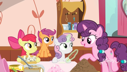 Size: 1920x1080 | Tagged: apple bloom, bowl, cutie mark crusaders, discovery family logo, earth pony, female, filly, glowing horn, horn, magic, mare, mixing bowl, note, pegasus, pony, quill pen, raised leg, safe, scootaloo, screencap, sitting, spoiler:s09e23, spoon, sugar belle, sugarcube corner, sweetie belle, telekinesis, the big mac question, unicorn