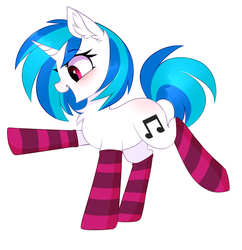 Size: 2844x2936 | Tagged: artist:pesty_skillengton, blushing, chest fluff, clothes, cute, dj pon-3, ear fluff, open mouth, pony, raised hoof, raised leg, safe, simple background, socks, solo, striped socks, unicorn, vinylbetes, vinyl scratch, white background