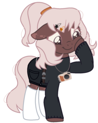 Size: 997x1247 | Tagged: artist:klewgcg, artist:tortured-smile0w0, base used, belt, camera, clothes, commission, earth pony, female, hairpin, mare, oc, oc only, oc:pastel pixel, pony, raised hoof, safe, shorts, simple background, socks, solo, stockings, sweater, thigh highs, transparent background