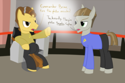 Size: 2400x1600 | Tagged: safe, artist:mightyshockwave, grand pear, mudbriar, earth pony, pony, the big mac question, dialogue, james t kirk, spock, spockbriar, star trek, technically, uss enterprise, voice actor joke