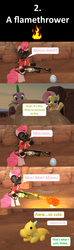 Size: 1920x6480 | Tagged: safe, artist:red4567, fluttershy, spike, dragon, earth pony, pegasus, pony, comic:6 ways to reheat the dragon eggs, sweet and smoky, spoiler:s09e09, 3d, comic, dragon egg, flamethrower, pinkie pyro, pyro, source filmmaker, team fortress 2, weapon