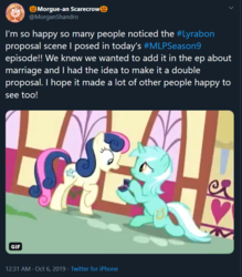 Size: 680x775   Tagged: safe, edit, edited screencap, screencap, bon bon, lyra heartstrings, sweetie drops, earth pony, pony, unicorn, the big mac question, spoiler:s09e23, background characters doing background things, background pony, best friends, canon, duo, female, it happened, lesbian, lyrabon, mare, meta, morgan shandro, shipping, text, twitter