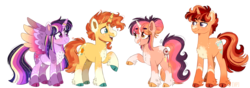 Size: 2050x720 | Tagged: alicorn, artist:wanderingpegasus, beard, chest fluff, colored hooves, cutie mark, facial hair, female, male, next generation, oc, oc:daydreamer, oc:prince artemis, offspring, parents:twiburst, parent:sunburst, parent:twilight sparkle, pony, redesign, safe, shipping, simple background, straight, sunburst, transparent background, twiburst, twilight sparkle, twilight sparkle (alicorn), unicorn, unshorn fetlocks