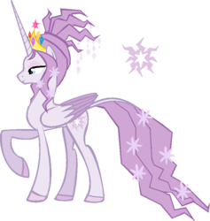 Size: 754x796 | Tagged: safe, artist:papptimea84, edit, editor:mugen kagemaru, tree of harmony, oc, oc only, oc:harmony (heilos), alicorn, pony, alicornified, big crown thingy, cutie mark, element of magic, female, flower, flower in hair, flower in tail, jewelry, mare, ponified, race swap, raised hoof, regalia, simple background, solo, white background