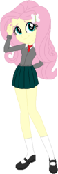 Size: 196x585 | Tagged: safe, artist:selenaede, artist:wolf, fluttershy, equestria girls, alternate costumes, base used, clothes, cute, female, legs, mary janes, miniskirt, moe, necktie, pleated skirt, school uniform, shoes, simple background, skirt, socks, solo, white background