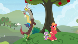 Size: 1600x900 | Tagged: apple, apple tree, big macintosh, crossed hooves, discord, draconequus, dragon, earth pony, hill, male, pony, safe, screencap, spike, spoiler:s09e23, stallion, the big mac question, tree, upset, winged spike
