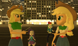 Size: 5120x3072 | Tagged: 3d, applejack, artist:n3onh100, crying, equestria girls, gmod, hat, rainbow dash, rarity, safe, self paradox