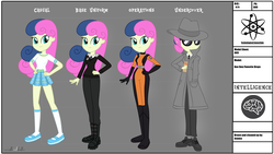 Size: 3325x1878 | Tagged: alternate design, artist:invisibleink, bodysuit, bon bon, boots, clothes, coat, equestria girls, fanfic, fanfic art, fedora, hat, safe, shoes, spy, sweetie drops, trenchcoat, uniform