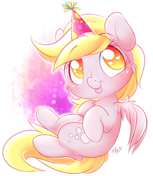 Size: 1300x1500 | Tagged: safe, artist:tamabel, derpy hooves, pegasus, pony, adorkable, birthday, cheek fluff, chest fluff, colored pupils, cute, derpabetes, dork, female, hat, heart eyes, looking at you, mare, party hat, solo, tongue out, wingding eyes