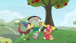 Size: 2020x1136 | Tagged: safe, screencap, big macintosh, discord, spike, draconequus, dragon, earth pony, pony, the big mac question, spoiler:s09e23, apple, apple tree, fence, food, male, peeking, ring box, stallion, strange, stretching, tree, trio, weird, winged spike