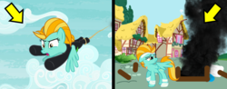Size: 1296x506 | Tagged: angry, arrow, arrows, artist:kayman13, bandage, destruction, female, lightning dust, mare, noughtpointforlive, pony, rope, sad, safe, smoke, the washouts (episode), toilet