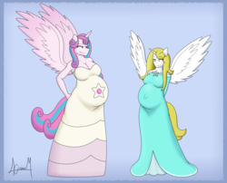 Size: 3633x2932   Tagged: safe, artist:biaspace13, princess flurry heart, oc, alicorn, anthro, adult, alicorn oc, belly, big belly, blushing, clothes, cosplay, costume, female, mama flurry, mother and daughter, multiple pregnancy, offspring, offspring's offspring, older, older flurry heart, parent:oc:shimmering glow, parent:princess flurry heart, parents:canon x oc, pregnant, rosalina, rose quartz (steven universe), signature, steven universe, super mario bros.