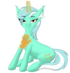 Size: 1190x1250 | Tagged: safe, artist:kota, lyra heartstrings, pony, unicorn, chest fluff, ear fluff, fluffy, hand, magic, magic hands, sitting, smug, solo