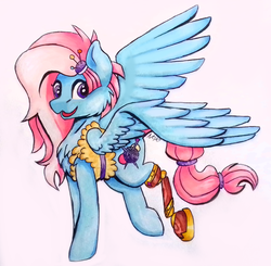 Size: 1792x1755 | Tagged: safe, artist:noxi1_48, kerfuffle, pegasus, pony, rainbow roadtrip, amputee, blue, chest fluff, clothes, cute, female, fluffy, fufflebetes, hairpin, hairtie, happy, open mouth, pincushion, pink, prosthetic leg, prosthetic limb, prosthetics, solo, spread wings, traditional art, vest, wings