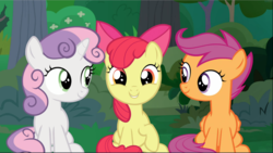 Size: 1668x941 | Tagged: adorabloom, apple bloom, cropped, cute, cutealoo, cutie mark crusaders, diasweetes, looking at each other, safe, scootaloo, screencap, sitting, smiling, spoiler:s09e23, sweetie belle, the big mac question, trio