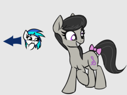 Size: 1864x1396 | Tagged: :3c, artist:wenni, bow, dj pon-3, duo, female, gray background, happy, looking back, octavia melody, pony, safe, simple background, smiling, smug, tail bow, vinyl scratch