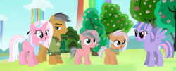 Size: 1401x565 | Tagged: safe, artist:z-shadow-0, clear sky, quibble pants, wind sprint, oc, earth pony, pony, unicorn, base used, blank flank, colt, family, female, filly, male, offspring, older wind sprint, parent:clear sky, parent:quibble pants, quibblesky, rainbow waterfall, shipping, step-siblings, straight, tree