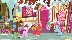 Size: 1600x900 | Tagged: safe, screencap, cup cake, discord, spike, sugar belle, dragon, the big mac question, spoiler:s09e23, blindfold, cupcake, door, food, garden, stairs, sugarcube corner, window, winged spike