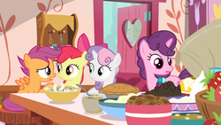 Size: 1600x900 | Tagged: safe, screencap, apple bloom, scootaloo, sugar belle, sweetie belle, the big mac question, spoiler:s09e23, bowl, cutie mark crusaders, food, jar, kitchen, open door, pie, pouring, strawberry, sugar (food)