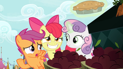 Size: 1600x900 | Tagged: apple, apple bloom, cutie mark crusaders, excited, food, hiding, levitation, magic, pie, safe, scootaloo, screencap, smiling, spoiler:s09e23, sweetie belle, telekinesis, the big mac question
