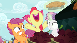 Size: 1600x900 | Tagged: apple, apple bloom, cutie mark crusaders, excited, food, happy, hiding, levitation, magic, nervous, pie, safe, scootaloo, screencap, smiling, spoiler:s09e23, sweetie belle, telekinesis, the big mac question, yelling