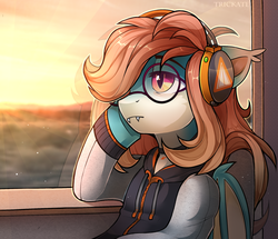 Size: 2240x1928   Tagged: safe, artist:trickate, oc, oc only, oc:sweet riot, bat pony, pony, bat pony oc, bus, clothes, fangs, glasses, headphones, hoodie, solo, sunset, train, trip